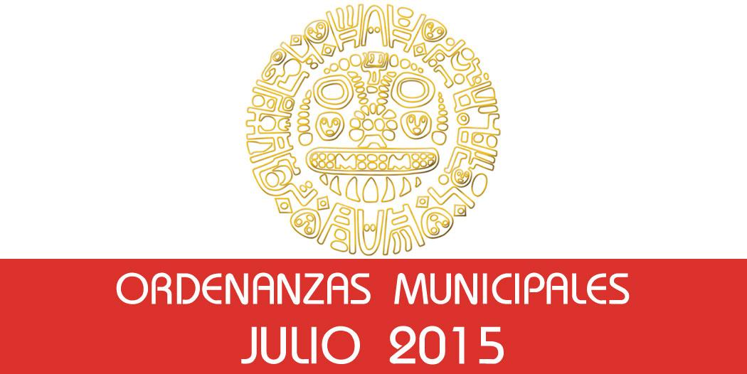 Ordenanzas Municipales – Julio 2015