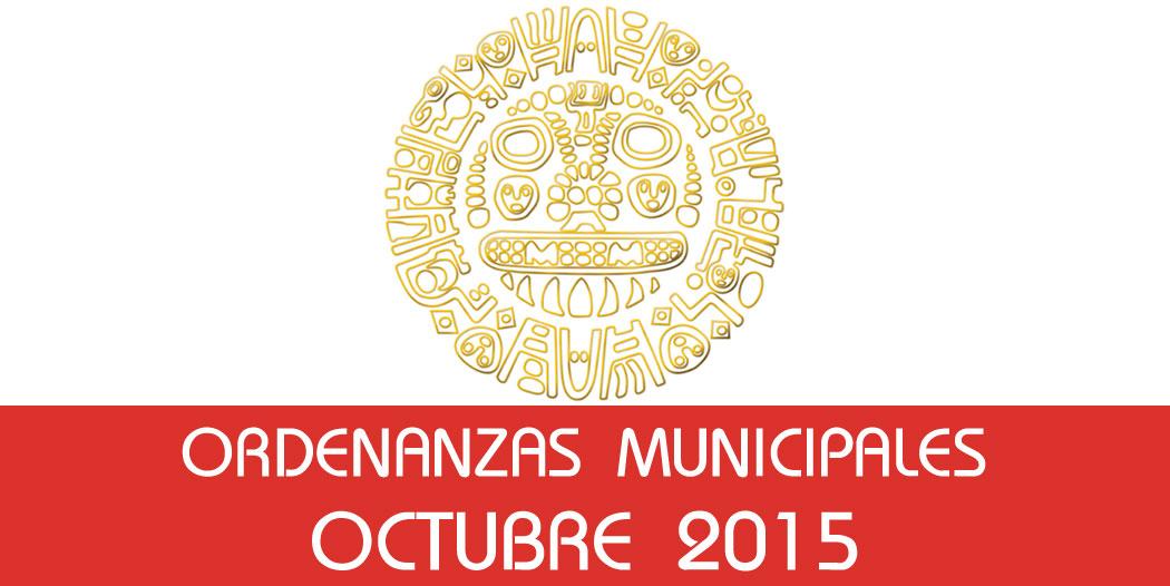 Ordenanzas Municipales – Octubre 2015