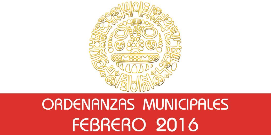 Ordenanzas Municipales – Febrero 2016