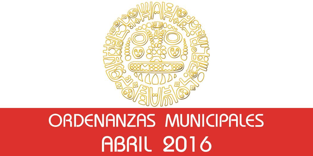 Ordenanzas Municipales – Abril 2016