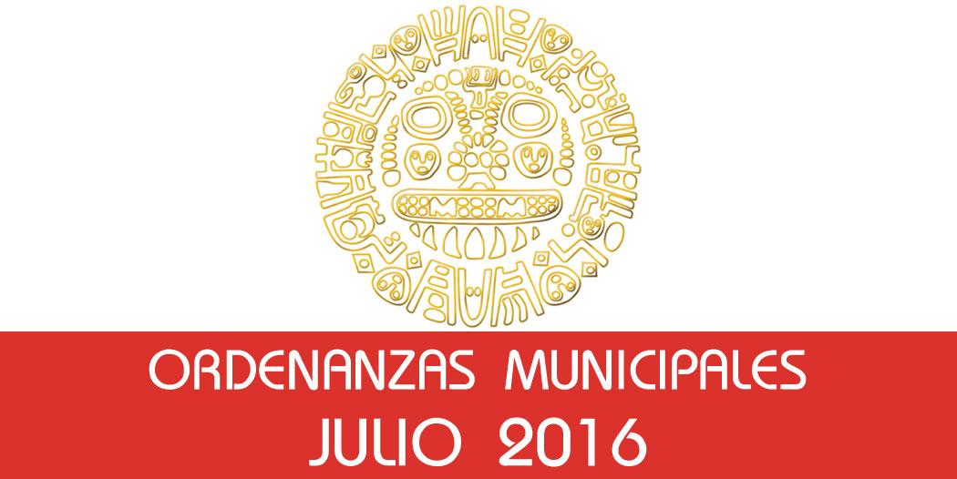 Ordenanzas Municipales – Julio 2016