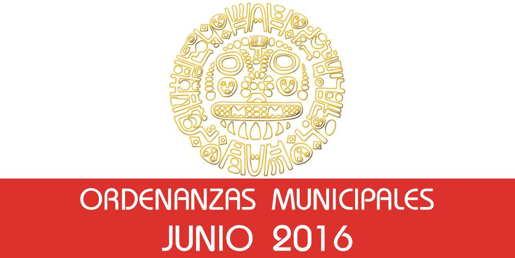 Ordenanzas Municipales – Junio 2016