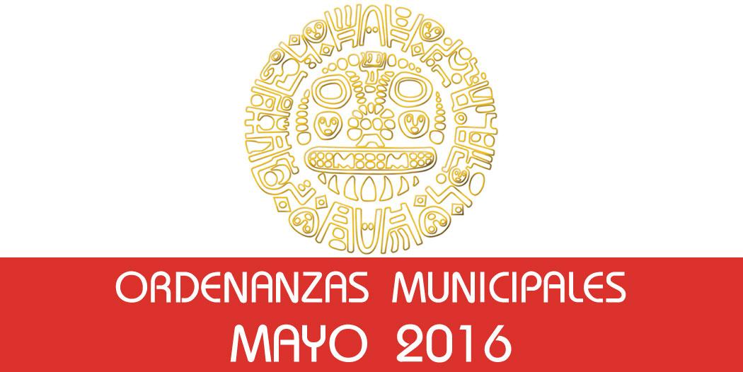 Ordenanzas Municipales – Mayo 2016