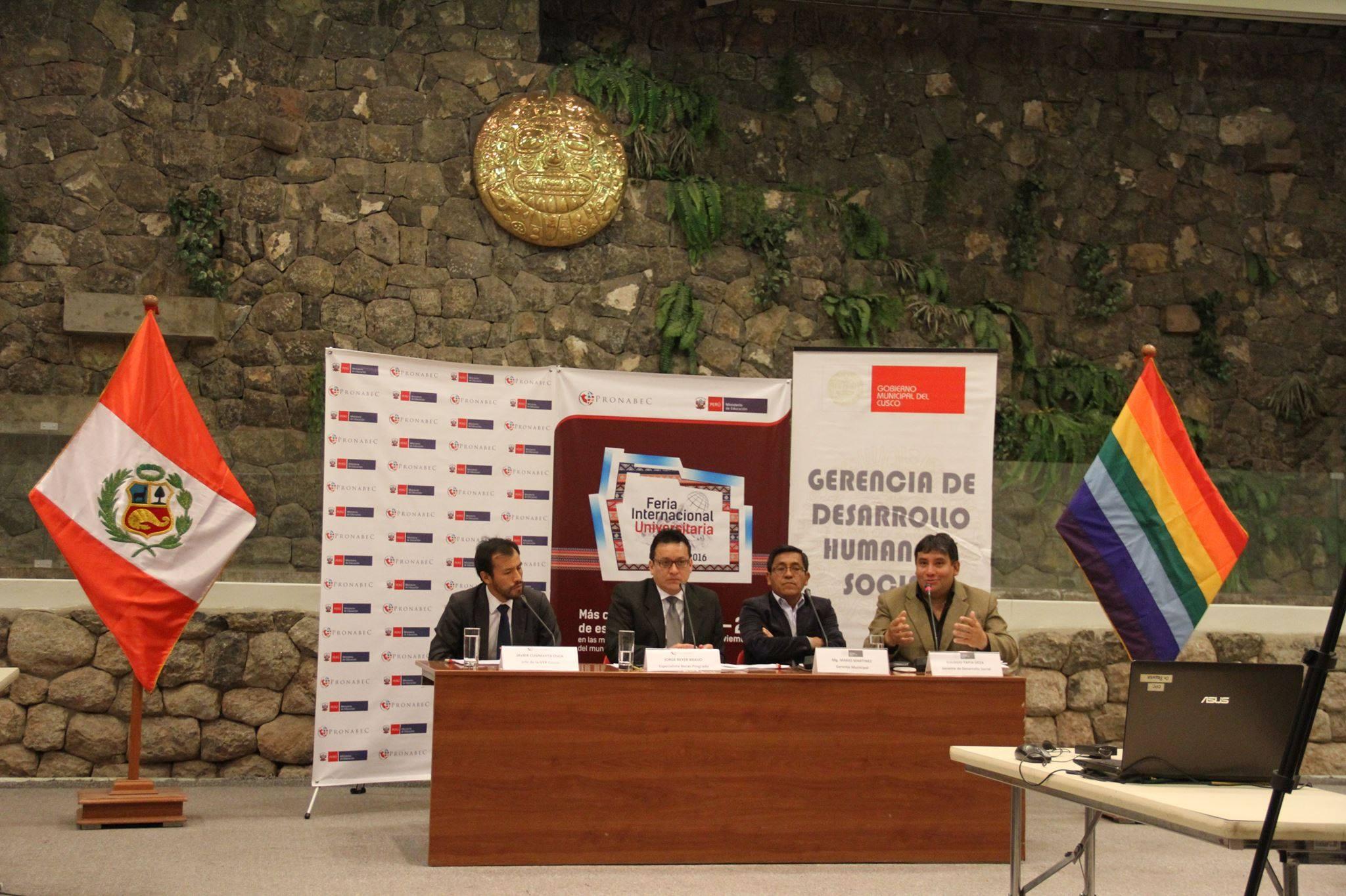 CUSCO SERÁ SEDE DE LA I FERIA INTERNACIONAL UNIVERSITARIA QUE ORGANIZA LA MUNICIPALIDAD DEL CUSCO  Y EL PROGRAMA NACIONAL DE BECAS