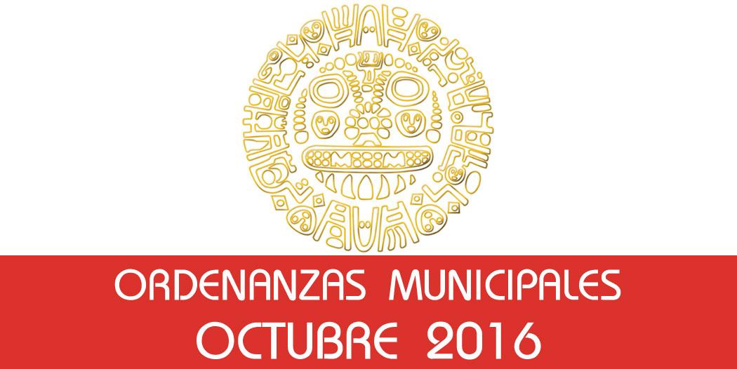 Ordenanzas Municipales – Octubre 2016