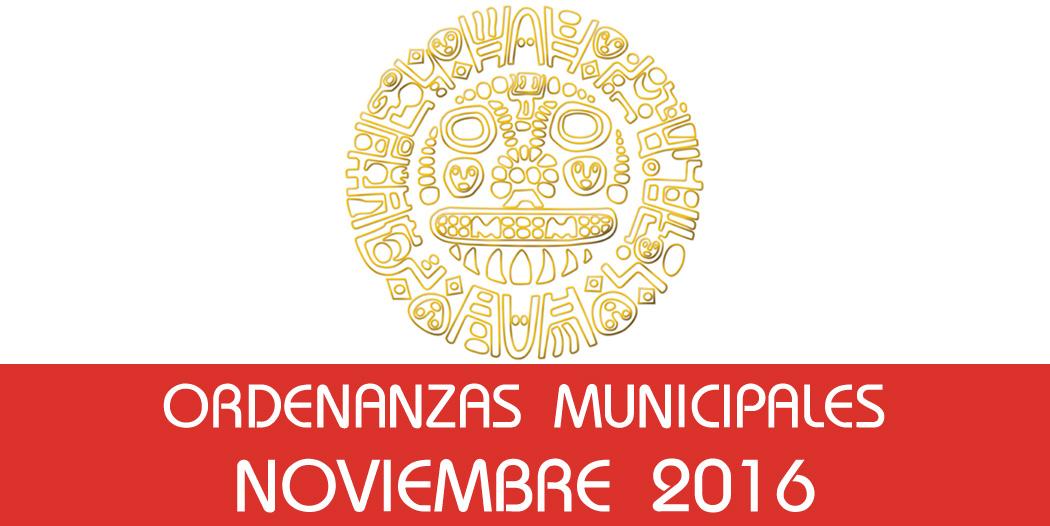 Ordenanzas Municipales – Noviembre 2016