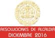 Resoluciones de Alcaldía - Diciembre 2016