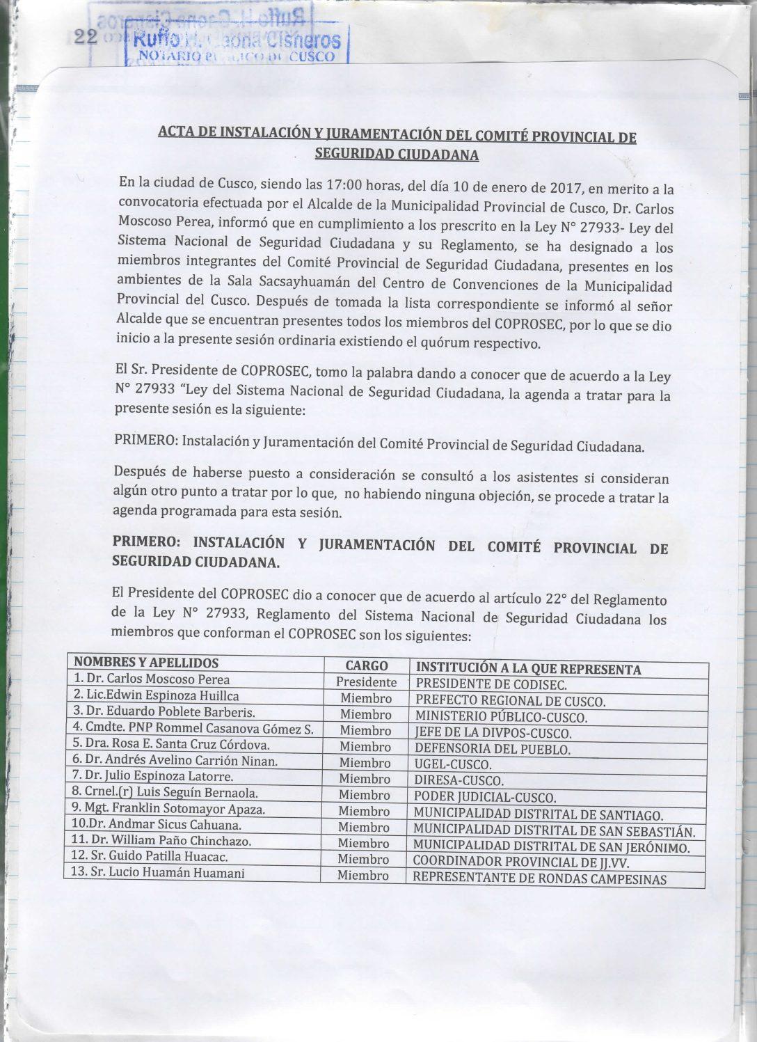 INSTALACION DEL COPROSEC CUSCO 2017