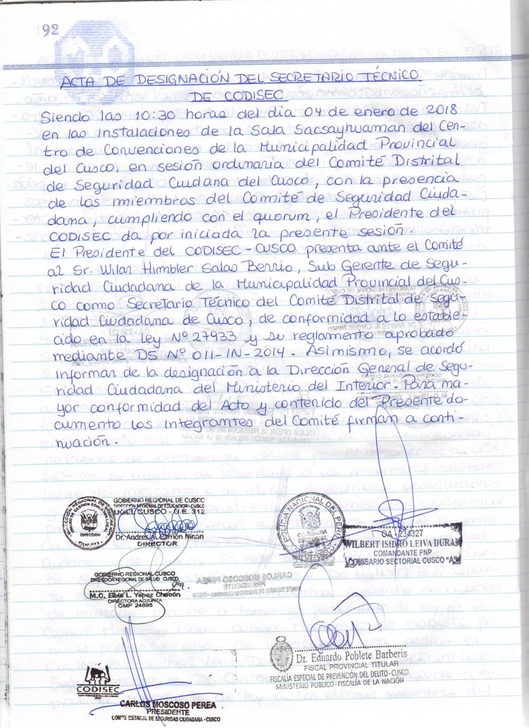 DESIGNACION SECRETARIO TECNICO CODISEC CUSCO 2018