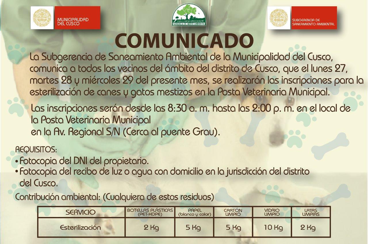 Comunicado de la Sub Gerencia de Saneamiento Ambiental a los vecinos de la Ciudad Cusco Distrito
