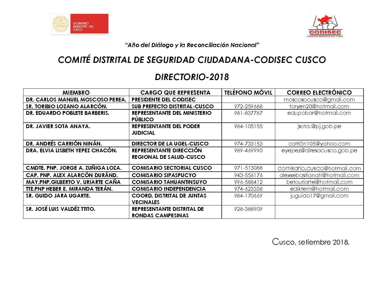 DIRECTORIO CODISEC SETIEMBRE 2018