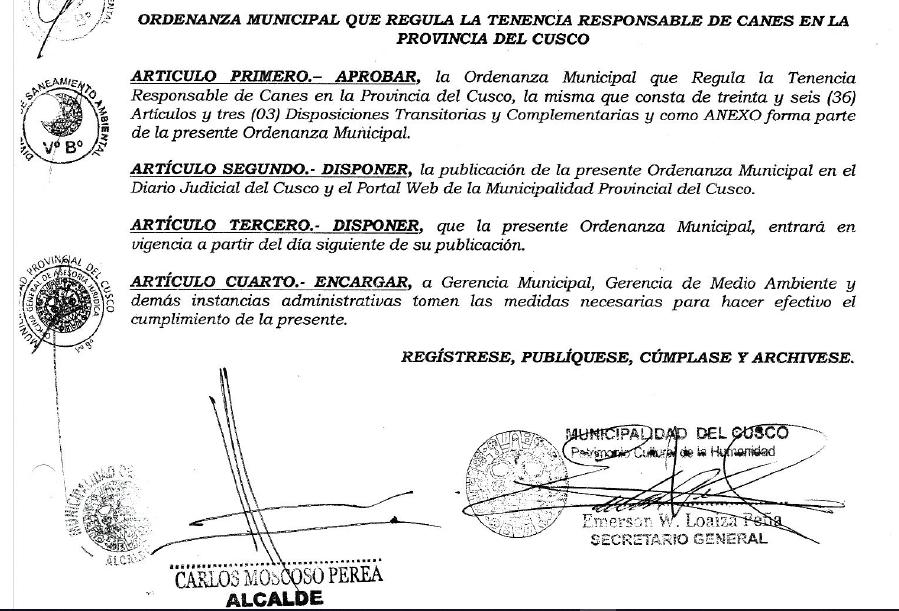 ORDENAZA MUNICIPAL N° 13-2018-MPC – ORDENANZA MUNICIPAL QUE REGULA LA TENENCIA RESPONSABLE DE CANES EN LA PROVINCIA DE CUSCO