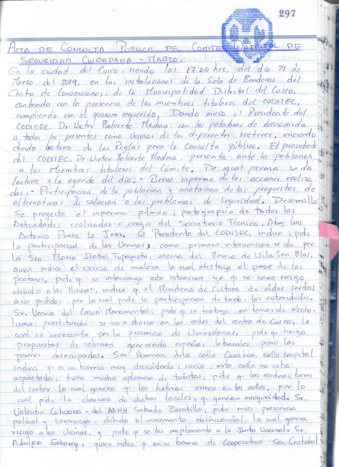 PRIMERA CONSULTA PUBLICA CODISEC CUSCO 2019
