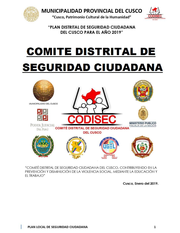 PLAN LOCAL DE SEGURIDAD CIUDADANA DEL DISTRITO DEL CUSCO 2019