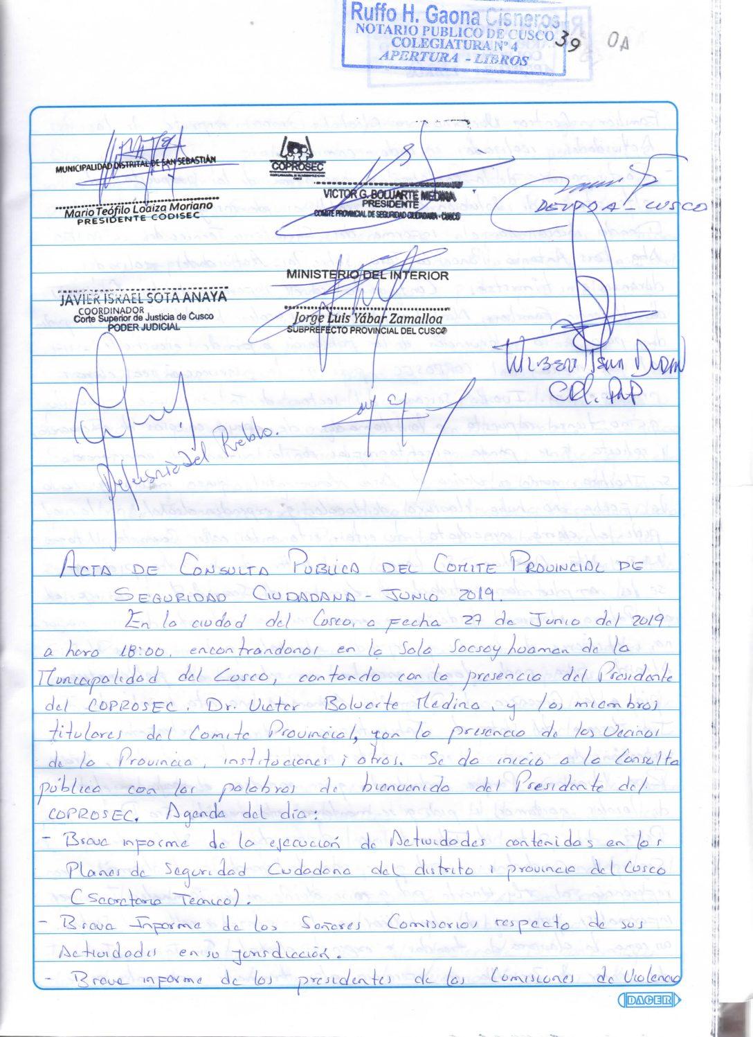 SEGUNDA CONSULTA PUBLICA COPROSEC CUSCO 2019