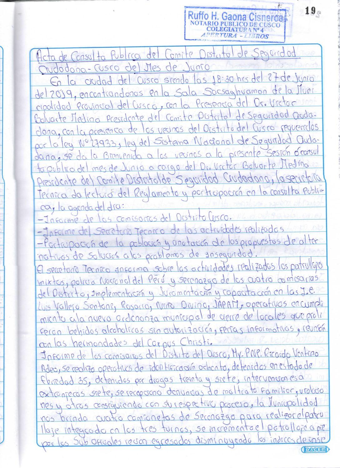 SEGUNDA CONSULTA PUBLICA CODISEC 2019