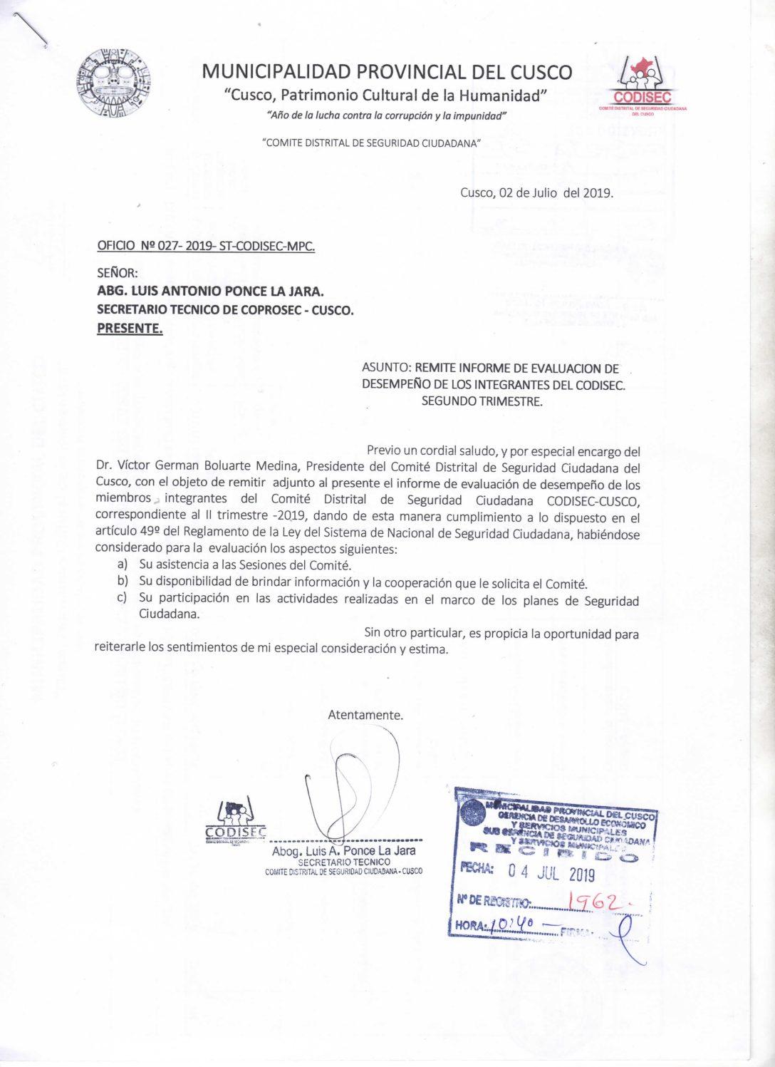 EVALUACIÓN DE DESEMPEÑO DE LOS INTEGRANTES CODISEC II TRIMESTRE 2019